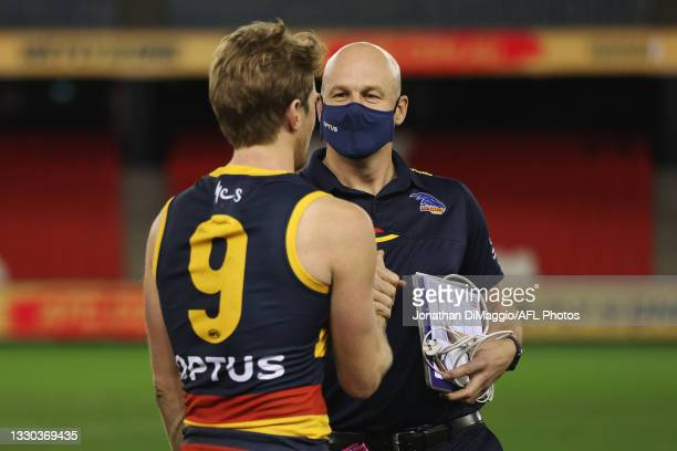 Adelaide Coach Matthew Nicks is seen with Rory Sloane post match during the round 20 AFL match between Adelaide Crows and Hawthorn Hawks at Marvel...