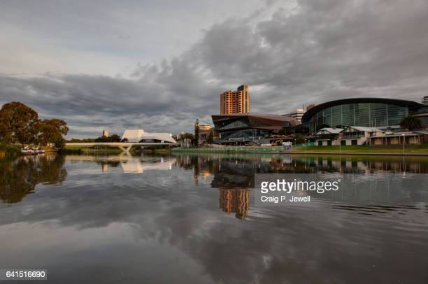 Adelaide Convention Centre and Festival Centre Across the River Torrens Under a Gloomy Evening Sky