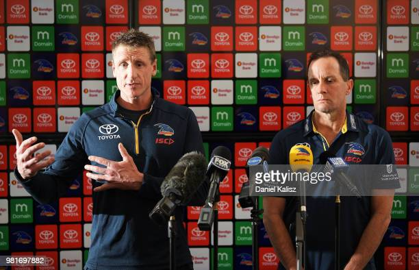 Adelaide Crows football manager Brett Burton and Adelaide Crows Senior Coach Don Pyke speak to the media during a press conference at AAMI Stadium on...