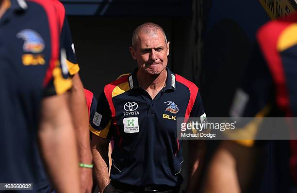 Adelaide Crows Head Coach Phil Walsh looks ahead during the round one AFL match between the Adelaide Crows and the North Melbourne Kangaroos at...