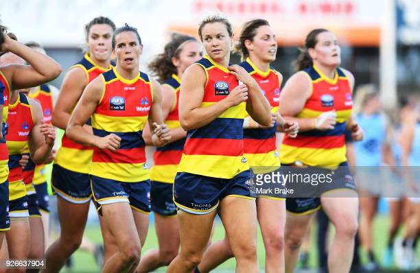 Adelaide Crows head off at half time during the round five AFLW match between the Adelaide Crows and the Carlton Blues at Norwood Oval on March 3...