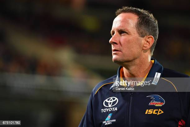 Adelaide Crows Senior Coach Don Pyke looks on during the round six AFL match between the Adelaide Crows and the Richmond Tigers at Adelaide Oval on...