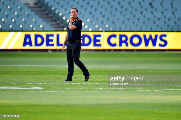Adelaide Crows Senior Coach Don Pyke looks on from the middle of Adelaide Oval prior to the First AFL Preliminary Final match between the Adelaide...