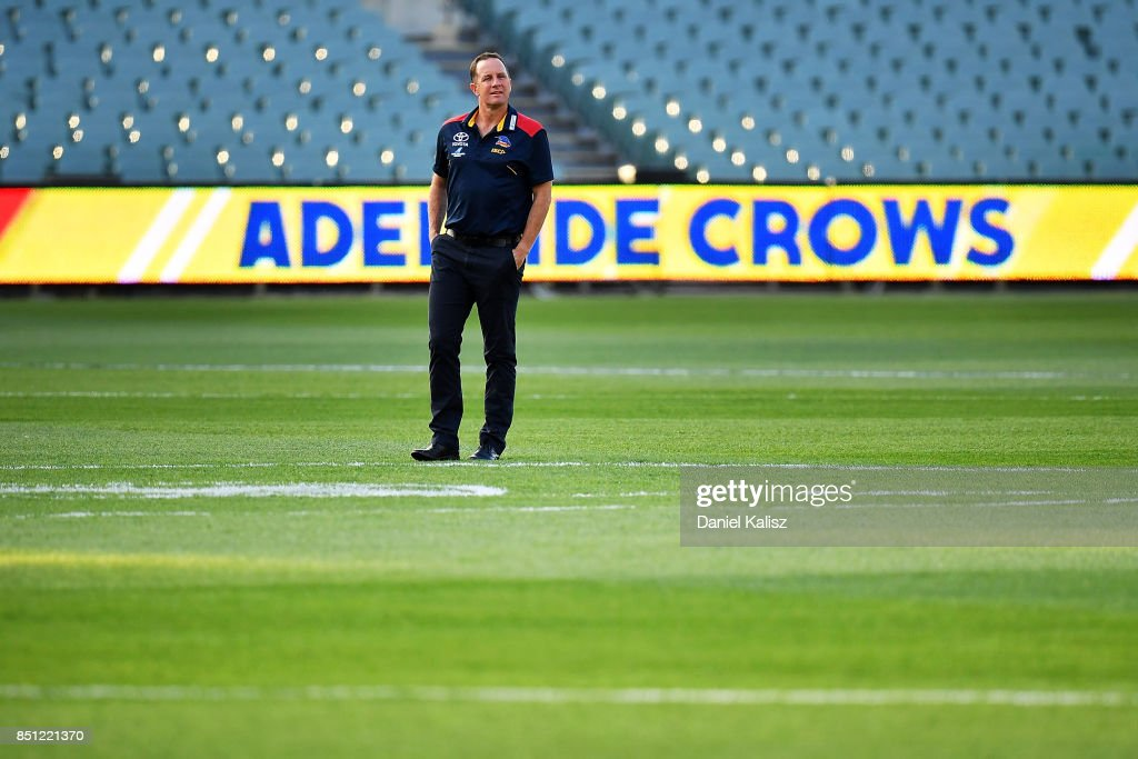 Adelaide Crows Senior Coach Don Pyke looks on from the middle of Adelaide Oval prior to the First AFL Preliminary Final match between the Adelaide Crows and the Geelong Cats at Adelaide Oval on September 22, 2017 in Adelaide, Australia.