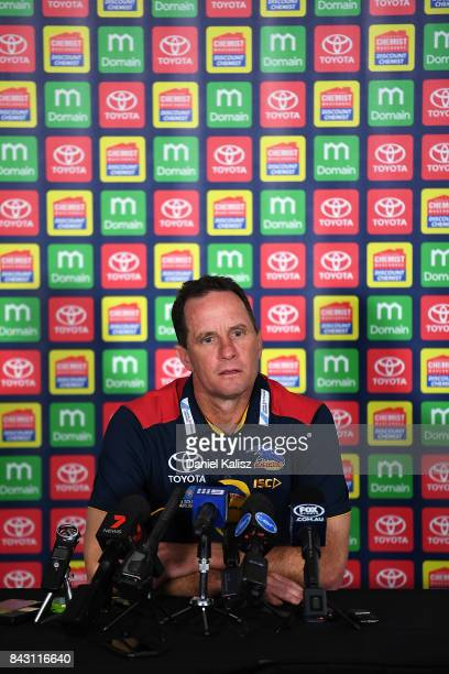 Adelaide Crows Senior Coach Don Pyke speaks to the media during an Adelaide Crows AFL media opportunity at Adelaide Oval on September 6 2017 in...