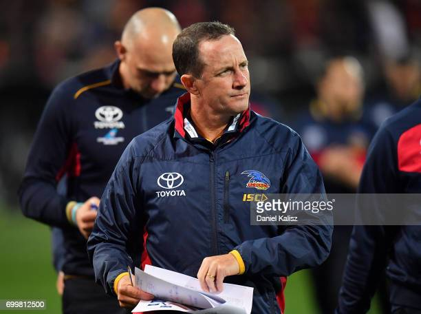 Adelaide Crows Senior Coach Don Pyke walks from the field at half time during the round 14 AFL match between the Adelaide Crows and the Hawthorn...