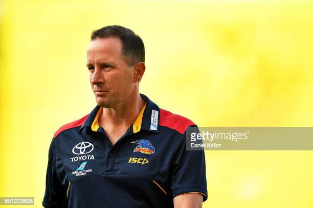 Adelaide Crows Senior Coach Don Pyke walks from the field prior to the First AFL Preliminary Final match between the Adelaide Crows and the Geelong...