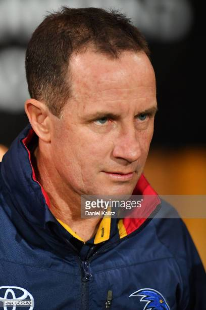 Adelaide Crows Senior Coach Don Pyke walks out onto the ground prior to the round 18 AFL match between the Adelaide Crows and the Geelong Cats at...
