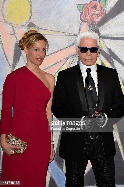 Adelaide de ClermontTonnerre and Karl Lagerfeld attend the Rose Ball 2014 in aid of the Princess Grace Foundation at Sporting MonteCarlo on March 29...