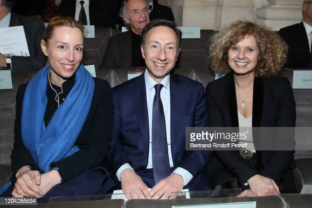 """Adelaide de Clermont-Tonnerre, Stephane Bern and Nathalie Lourau attend the Installation of Frederic Mitterrand at the """"Academie des Beaux-Arts""""...."""