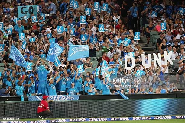 Adelaide fans cheer for Ben Dunk during the Big Bash League match between the Adelaide Strikers and the Hobart Hurricanes at Adelaide Oval on January...