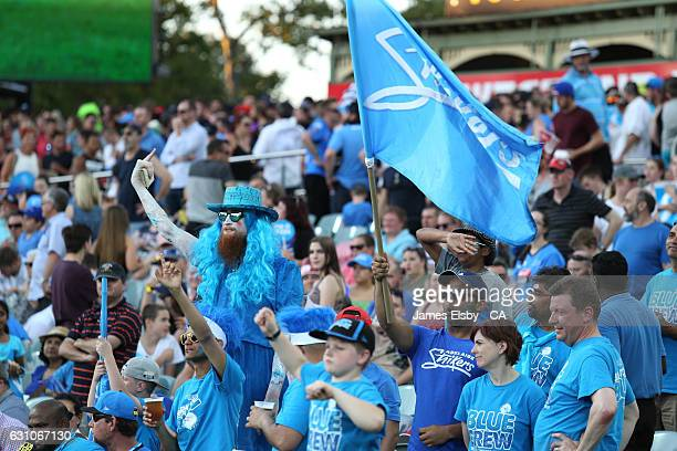 Adelaide fans enjoy the action during the Big Bash League match between the Adelaide Strikers and the Hobart Hurricanes at Adelaide Oval on January 6...
