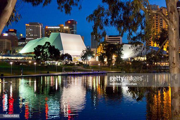 adelaide festival centre at night - adelaide festival stock pictures, royalty-free photos & images