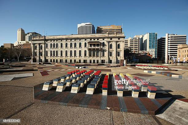 Adelaide Festival Centre's Southern Plaza behind Parliament House. General views of Adelaide on August 23, 2015 in Adelaide, Australia.