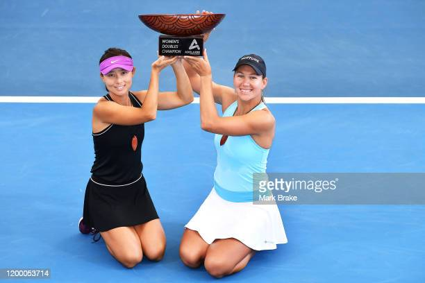 Adelaide International Womens Doubles winners Yifan Xu of China and Nicole Melichar of the USA with the perpetual trophie during day six of the 2020...