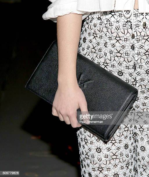 Adelaide Kane purse detail at the Zimmermann Front Row Fall 2016 New York Fashion Week at ArtBeam on February 12 2016 in New York City