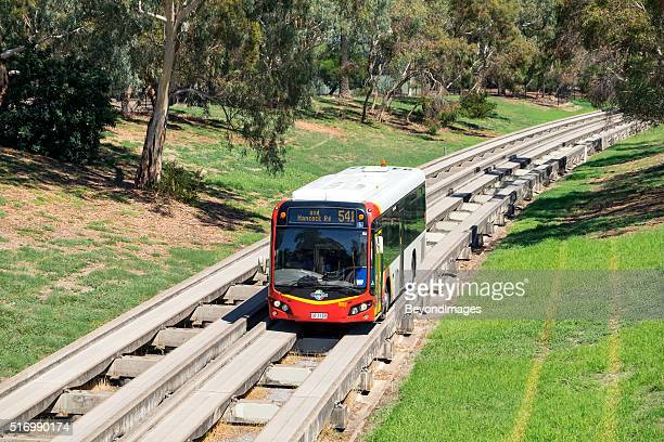 Adelaide Metro Bus travelling along O-Bahn guided busway