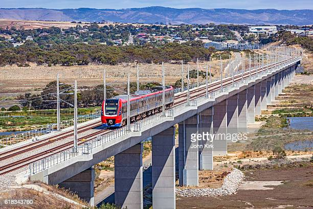 Adelaide Metro train crosses impressive Onkaparinga River rail-bridge