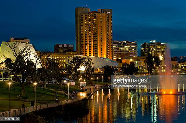 Adelaide on the Torrens River at night, South Australia, SA, Australia.