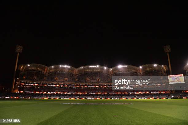 Adelaide Oval is pictured with the main stadium lights turned off prior to the round four AFL match between the Adelaide Crows and the Collingwood...