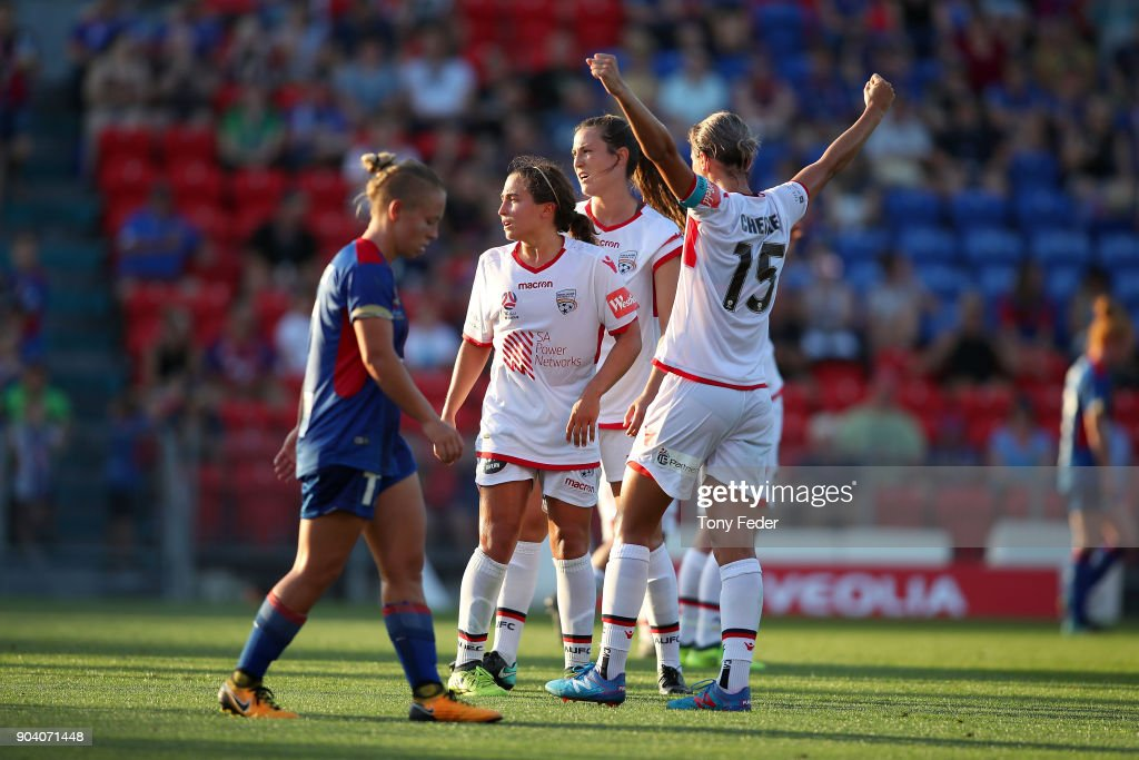 Adelaide players celebrate after the win over the Jets during the round 11 W-League match between the Newcastle Jets and Adelaide United at McDonald Jones Stadium on January 12, 2018 in Newcastle, Australia.