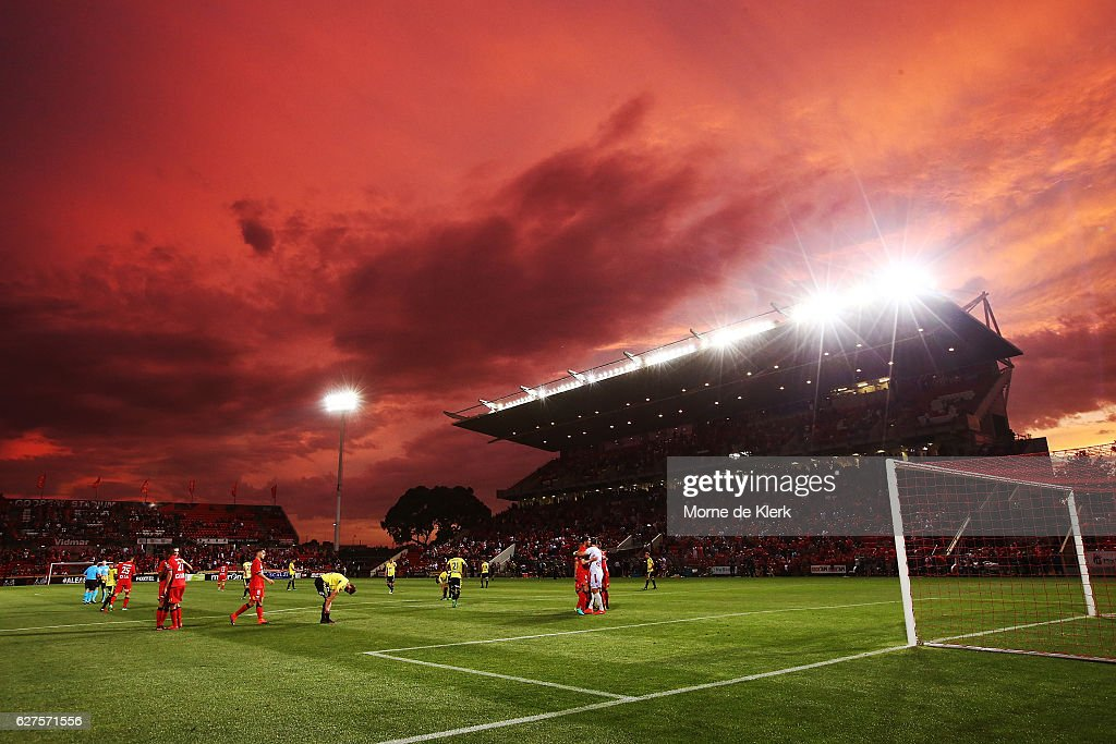 Adelaide players celebrate after winning the round nine A-League match between Adelaide United and the Wellington Phoenix at Coopers Stadium on December 4, 2016 in Adelaide, Australia.