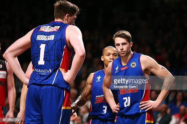 Adelaide players look on during the round six NBL match between the Adelaide 36ers and the Illawarra Hawks at the Adelaide Entertainment Centre on...