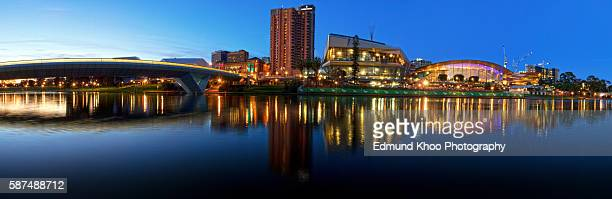 adelaide riverbank across the torrens river - adelaide stock pictures, royalty-free photos & images