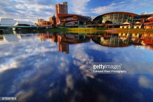 adelaide riverbank sunrise with the torrens river - adelaide stock pictures, royalty-free photos & images