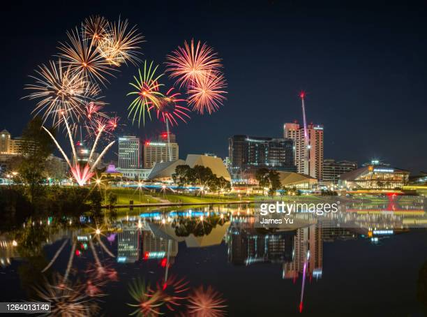 adelaide skyline fireworks - adelaide festival stock pictures, royalty-free photos & images