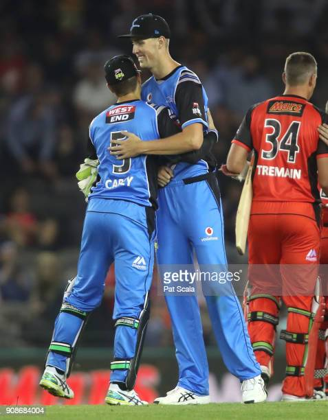 Adelaide Strikers Alex Carey and Billy Stanlake celebrate during the Big Bash League match between the Melbourne Renegades and the Adelaide Strikers...
