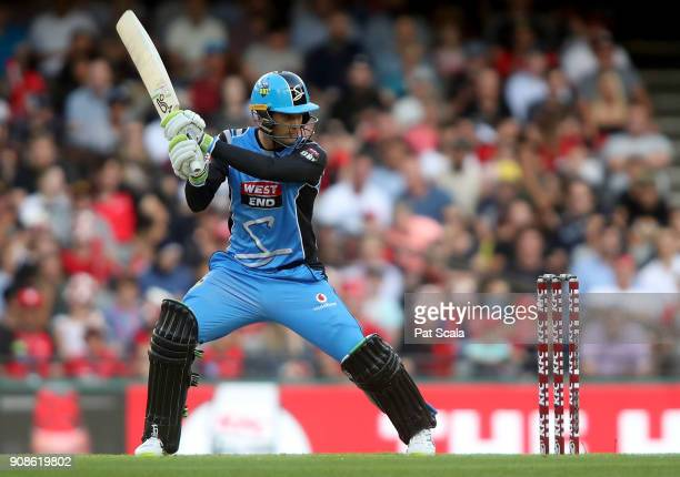 Adelaide Strikers Alex Carey bats during the Big Bash League match between the Melbourne Renegades and the Adelaide Strikers at Etihad Stadium on...