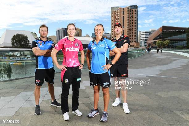 Adelaide Strikers BBL captian Colin Ingram WBBL Sydney Sixers captain Ellyse Perry WBBL Adelaide Strikers captain Suzie Bates and BBL Melbourne...