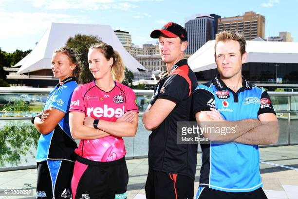 Adelaide Strikers captain Suzie Bates WBBL Sydney Sixers captain Ellyse Perry BBL Melbourne Renegades captain Cameron White and Adelaide Strikers BBL...