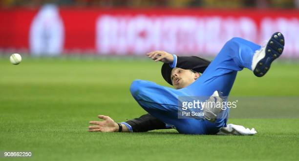 Adelaide Strikers Jake Lehmann misses a catch in the outfield during the Big Bash League match between the Melbourne Renegades and the Adelaide...