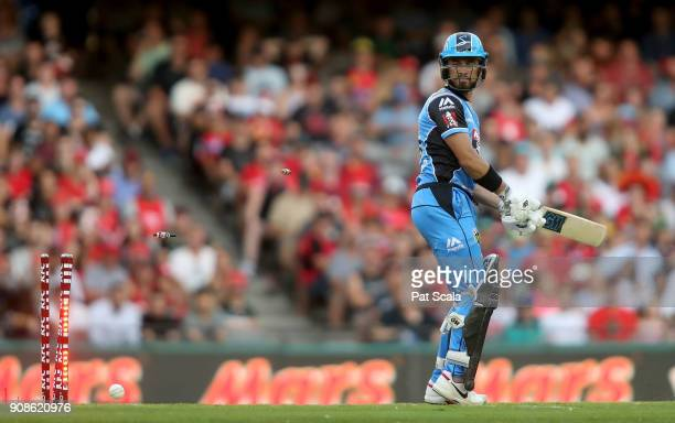 Adelaide Strikers Jake Weatherald is bowled during the Big Bash League match between the Melbourne Renegades and the Adelaide Strikers at Etihad...