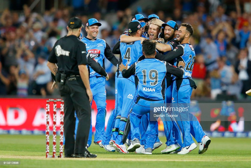 Adelaide Strikers players celebrate winning the Big Bash League match between the Adelaide Strikers and the Melbourne Renegades at Adelaide Oval on February 2, 2018 in Adelaide, Australia.