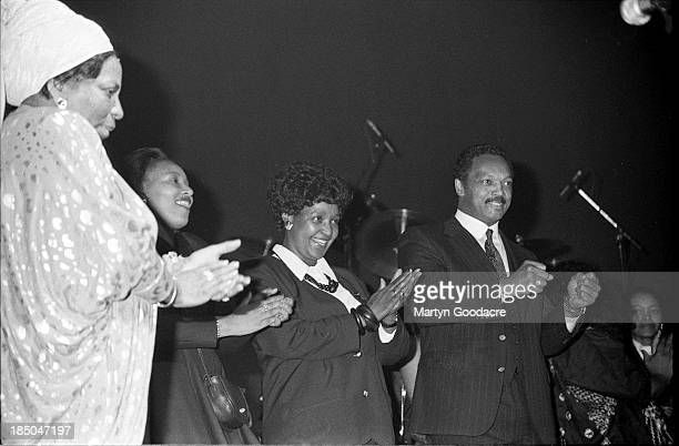 Adelaide Tambo Winnie Mandela and Rev Jesses Jackson at Dance Mandela concert at Brixton Academy London United Kingdom 1990