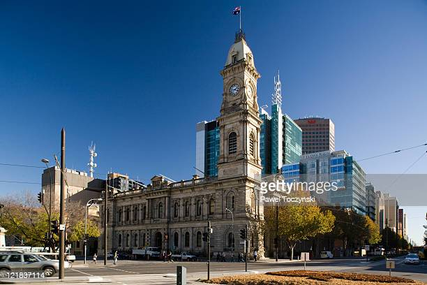 adelaide town hall at victoria square, adelaide, south australia, australia - adelaide stock pictures, royalty-free photos & images