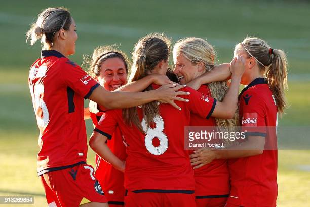 Adelaide United celebrate a goal during the round 14 WLeague match between Adelaide United and the Melbourne Victory at Marden Sports Complex on...