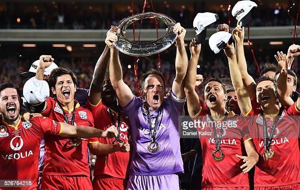 Adelaide United celebrate after they defeated the Wanderers during the 2015/16 ALeague Grand Final match between Adelaide United and the Western...