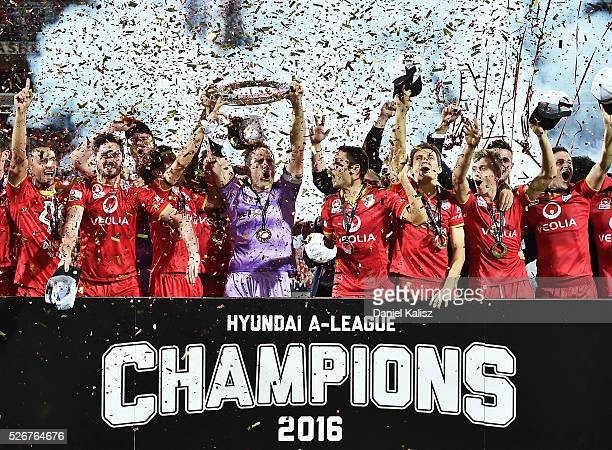 Adelaide United celebrate after they defeated the Wanderers during the 2015/16 A-League Grand Final match between Adelaide United and the Western...
