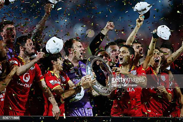 Adelaide United celebrate after winning the 2015/16 ALeague Grand Final match between Adelaide United and the Western Sydney Wanderers at Adelaide...