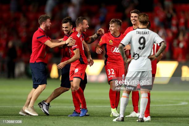 Adelaide United celebrate their win during the round 17 A-League match between Adelaide United and the Brisbane Roar at Coopers Stadium on February...