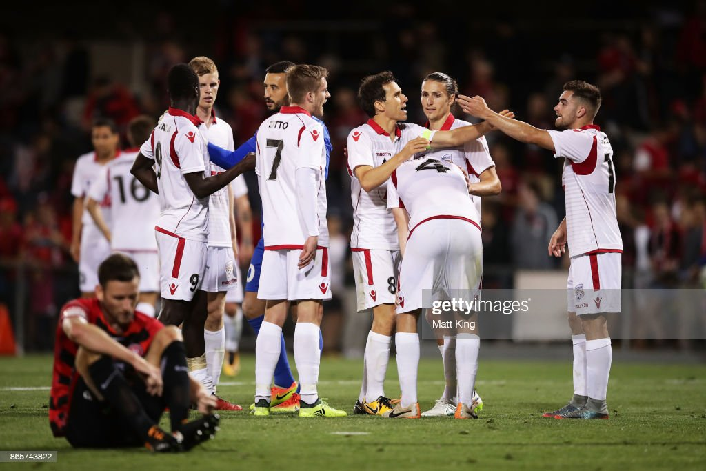 Adelaide United celebrate victory at the end of the FFA Cup Semi Final match between the Western Sydney Wanderers and Adelaide United at Campbelltown Sports Stadium on October 24, 2017 in Sydney, Australia.