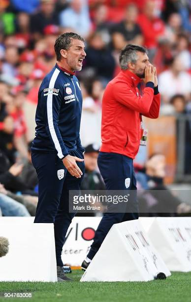 Adelaide United coach Marco Kurz during the round 16 ALeague match between Adelaide United and Sydney FC at Coopers Stadium on January 14 2018 in...