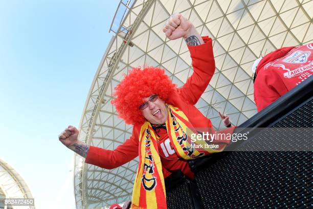 Adelaide United fan Steve Cevaro during the round three ALeague match between Adelaide United and Melbourne Victory at Adelaide Oval on October 20...