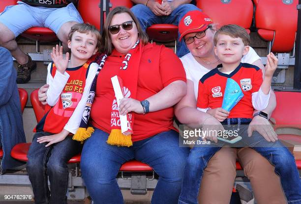 Adelaide United fans enjoy the atmosphere during the round 16 ALeague match between Adelaide United and Sydney FC at Coopers Stadium on January 14...
