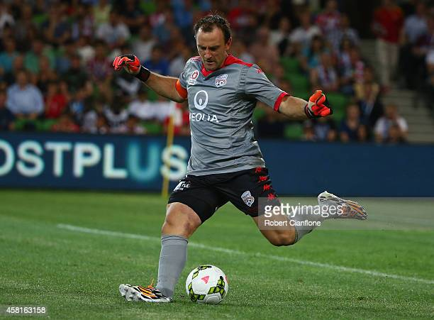 Adelaide United goalkeeper Eugene Galekovic kicks the ball during the round four ALeague match between Melbourne City and Adelaide United at AAMI...