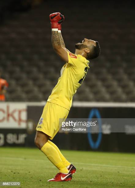 Adelaide United goalkeeper Paul Izzo celebrates after Adelaide United defeated the Victory during the round 10 ALeague match between the Melbourne...
